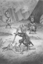 Picket fighting the Terralains as he and others evacuate Cloud Mountain ER