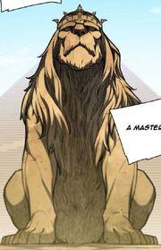 Webtoon lion sculpture