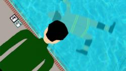 Jonah in pool with blur