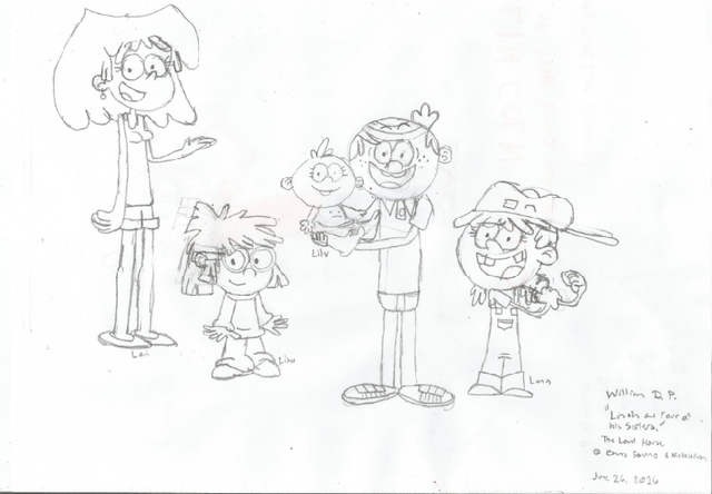 File:Lincoln Loud and Four of His Sisters (Uncolored).png