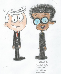 Lincoln and Clyde Dressed Up 1