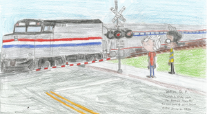 Lincoln and Clyde wait for Amtrak Train 3