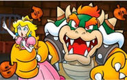 Peach getting hold by bowser