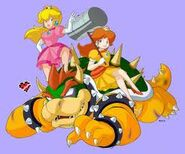 Peach and daisy beat up bowser
