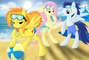 Spitfire at the beach with fluttershy and soarin by spitshy-d52vch7
