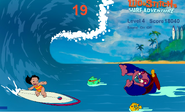 Lilo goes surfing.