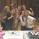 The next step cast celebrating their 100th episode of The Next Step