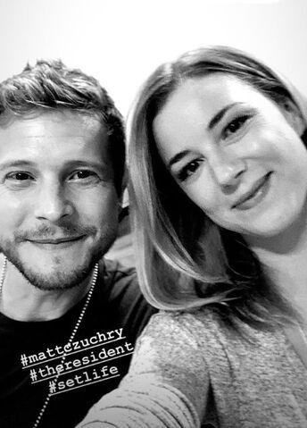File:Behind The Scenes - Season Two - Emily VanCamp's Instagram - Emily and Matt (1).jpg