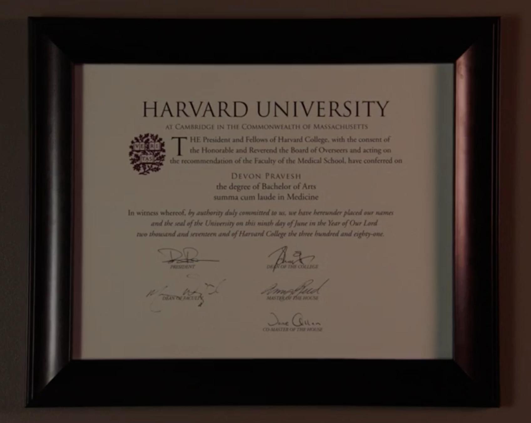 Image Devon Praveshs Harvard Certificateg The Resident Wiki