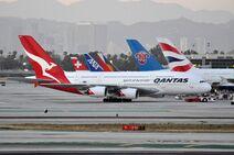 Qantas Airbus A380 at LAX