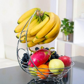 File Fruit Basket With Banana Holder In Chrome