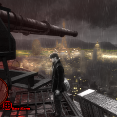 A view of the city from the Panthéon's guns, showing sections of the city skyline and the circle of darkened world, showing the symbolic intimidation by the guns and the oppression of the people.