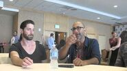 Seth Gabel, Iddo Goldberg, Elise Eberle and EP Adam Simon, Salem (Comic-Con 2014 Press Room)