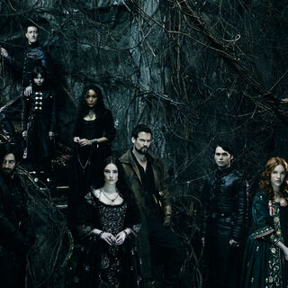 The entire cast inside the stronghold for a promotional image