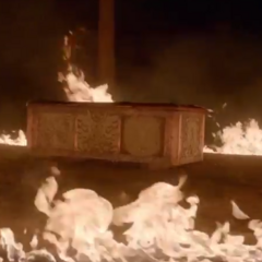 The Sarcophagus surrounded by flames