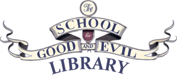 The School for Good and Evil Library wordmark v1 dark version