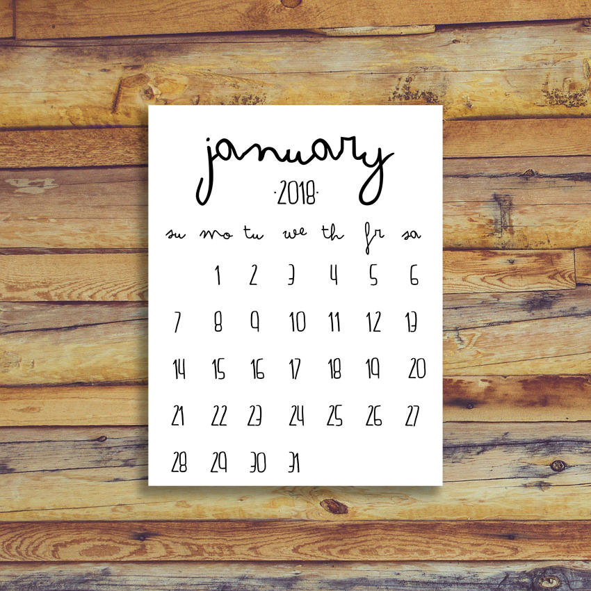 January Calendar 2018 Printable