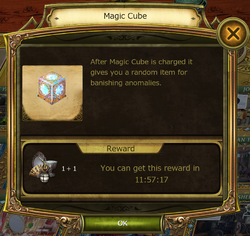 Magic Cube Information Window charged