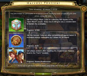 Harvest Festival Update Timed Challenges