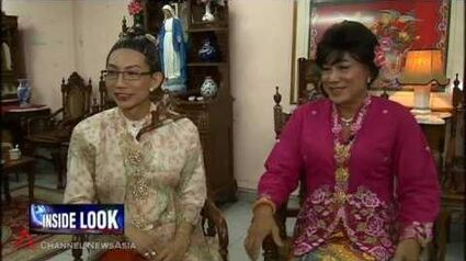 Cross-dressing actors in Peranakan plays