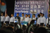 Low Thia Khiang at a Workers' Party general election rally, Sengkang, Singapore - 20110503