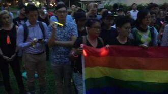 Vigil organiser Nicholas Lim reading out the names of the Orlando shooting victims