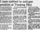"""Archive of The Straits Times article, """"12 men nabbed in anti-gay operation at Tanjong Rhu"""", 23 Nov 1993"""