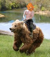 Vladimir Photok riding a bear
