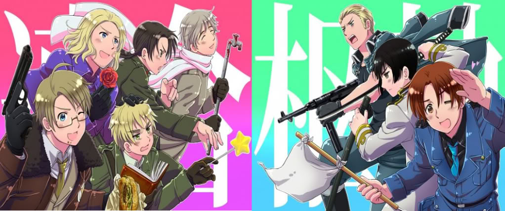 List of hetalia axis powers characters the spongebob squarepants the main characters in hetalia axis powers left americafranceengland china and russia right side germany japan and north italy publicscrutiny Images