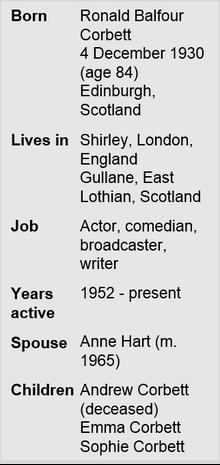 Ronnie Corbett Fact File