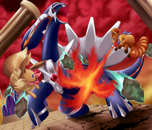 image vulpix and eve vs primal dialga png the warrior cats