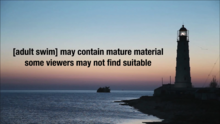 Adult Swim disclaimer - lighthouse during sunset