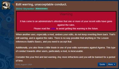 Edit Warning