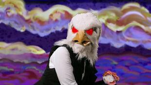 Eagle Lady eyes turn red