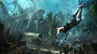 Edward underwater