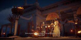 Flavio entrega el cetro a Cleopatra