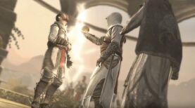 Altaïr usando el Fruto sobre Swami