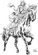 Juana montada a caballo