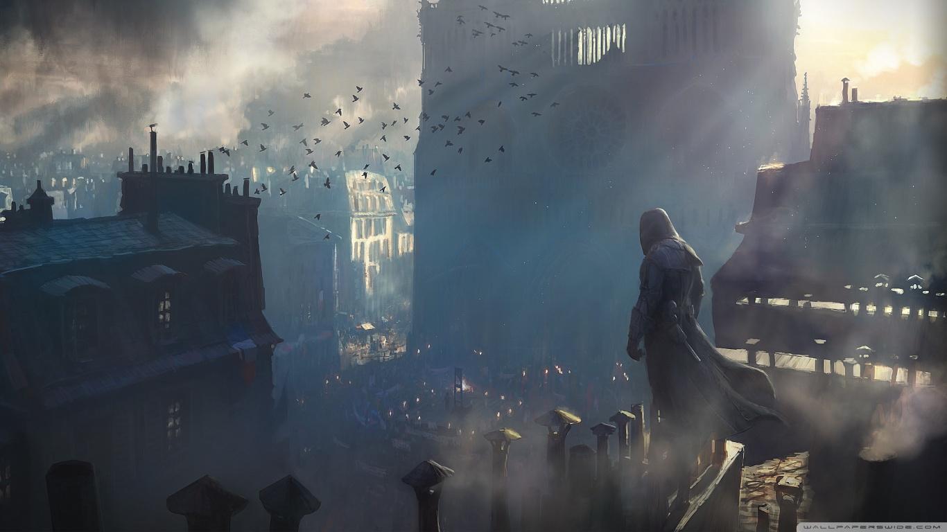 Imagen - Assassins creed unity concept art-wallpaper-1366x768.jpg   Animuspedia ...  Imagen - Assass...