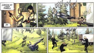 Lucy y Rebecca disparando