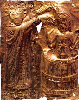 Harald siendo bautizado