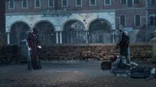 Rodrigo confrontando a Ezio.