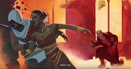 Arbaaz y Pyara huyendo de Sleeman