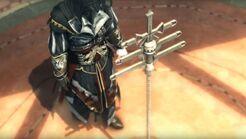 Ezio mira el Cetro