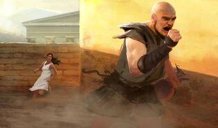 Kyros de Zárax corriendo contra Atalanta