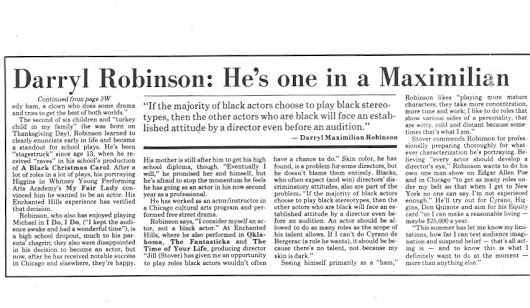 Part Two of Darryl Maximilian Robinson's 1981 Fort Wayne News-Sentinel Reviewer's Recognition Award article as Outstanding Thespian of the Season for his performance as Fagin in Oliver! at Enchanted Hills Playhouse.