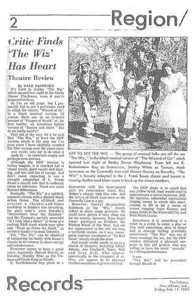 1989 Tribune of New Albany, Indiana Theatre Review of Shirese Hursey and Darryl Maximilian Robinson in The Wiz by Dale Sandusky.