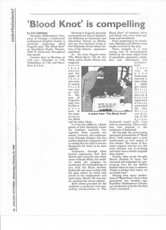 Excaliber Shakespeare Company Theatre Review of The Blood Knot in the Feb. 10 edition of The Chicago Defender.