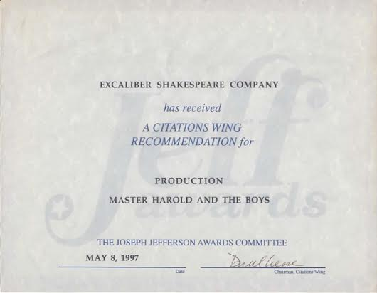 ESC Best Production Nomination for Athol Fugard's Master Harold And The Boys.
