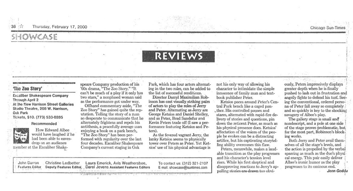 Feb. 2000 Chicago Sun-Times Theatre Review of Edward Albee's The Zoo Story.